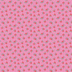 Watermelon and seeds - over pink stripes - smaller
