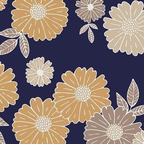 Romantic flower blossom flowers and leaves garden design neutral summer navy cinnamon LARGE
