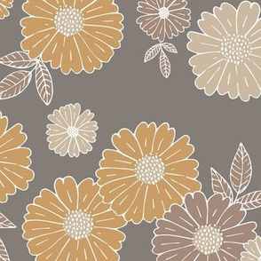 Romantic flower blossom flowers and leaves garden design neutral summer earthy neutral beige brown LARGE