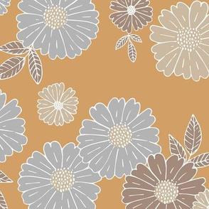 Romantic flower blossom flowers and leaves garden design neutral summer ochre yellow gray beige LARGE