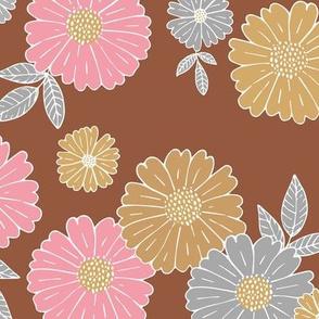 Romantic flower blossom flowers and leaves garden design neutral summer pink burnt orange beige gray LARGE