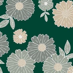Romantic flower blossom flowers and leaves garden design neutral summer forest green gray beige  LARGE