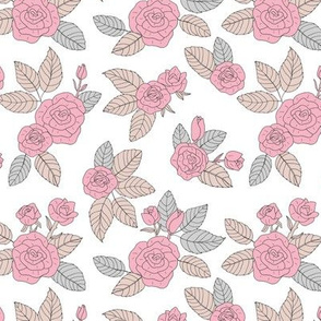 Romantic vintage rose garden flowers and leaves blossom summer design soft gray beige and pink on white