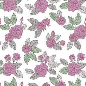 Romantic vintage rose garden flowers and leaves blossom summer design soft gray green and purple on white