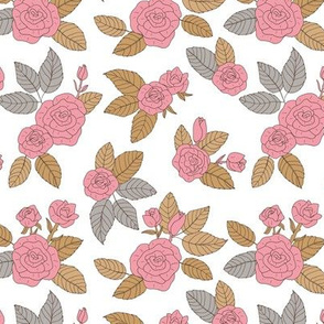 Romantic vintage rose garden flowers and leaves blossom summer design cinnamon brown gray pink on white
