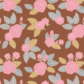 Romantic vintage rose garden flowers and leaves blossom summer design brick red pink gray cinnamon on white