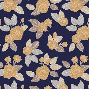 Romantic vintage rose garden flowers and leaves blossom summer design ochre gray navy blue on white