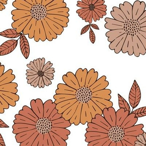 Romantic flower blossom flowers and leaves garden design neutral summer orange sienna vintage seventies  LARGE