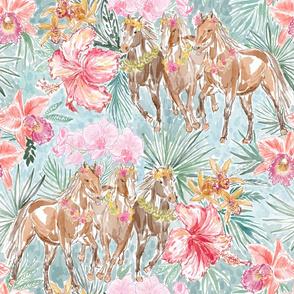 """Wild Hawaiian Horses (dusty mint) 18"""""""