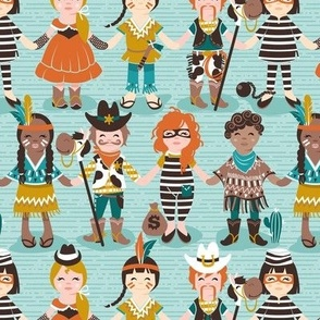 Small scale // Little wild west // aqua background little kids dressed as cowboys cowgirls Indians sheriffs prisoners and thieves
