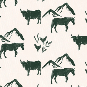 Home on the Range - textured block print cow, horse, chicken, mountains - green and tan - medium scale