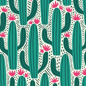 Cactus Country - Large Scale Teal Pink