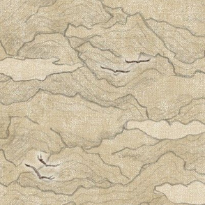 Condor Mountain | Californian condors, mountain fabric in desert gold, vintage gold yellow, hand drawn fabric.