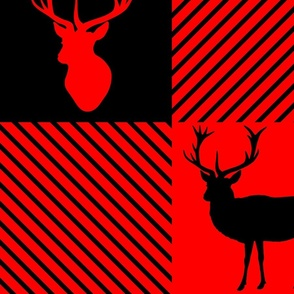 Red Stag Antlers Buffalo Plaid