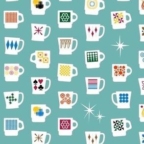 King of Cups || vintage coffee mugs retro kitchen geometric milk glass midcentury modern atomic