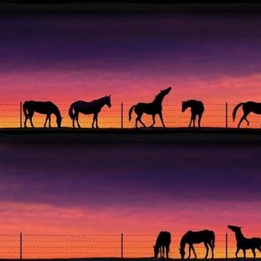 WesternHorsesSunset-SilhouettesFabric