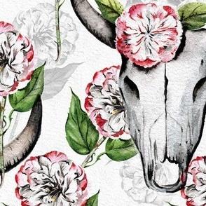Cow Skull Wild Camellias