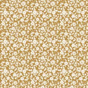 golden ivory whimsical painterly floral pattern vintage style bespoke hygge style TerriConradDesigns