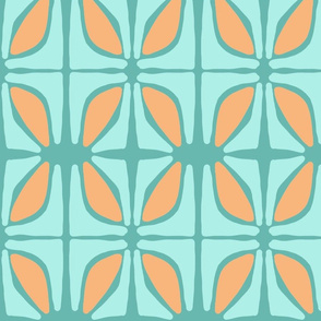 petal (tangerine, aqua and deep aqua)