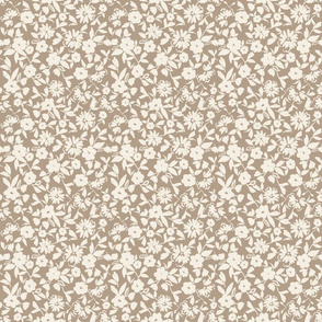 taupe ivory whimsical painterly floral pattern vintage style bespoke hygge style TerriConradDesigns