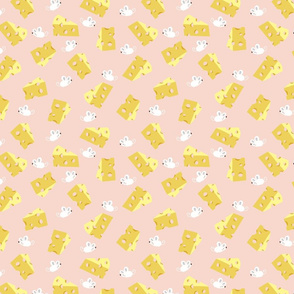 HOLEY CHEESE ON PINK WITH MICE
