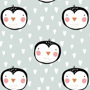 CUTE PENGUINS BABY BLUE HEARTS