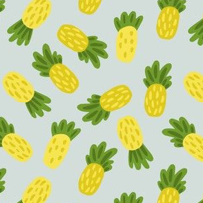 CUTE PINEAPPLES ON BLUE