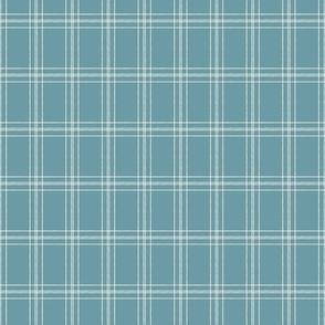 Lined Linens - Quad Plaid-Ivory,  Western Blue