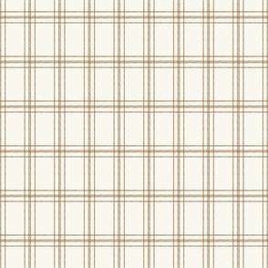 Lined Linens - Quad Plaid - Terra cotta, Ivory