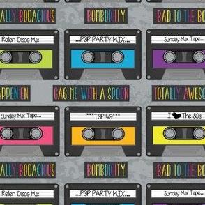 Cassettes on Gray Grunge