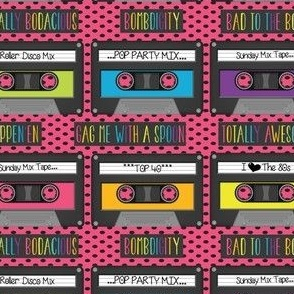 Cassettes on Pink and Black Polka Dots