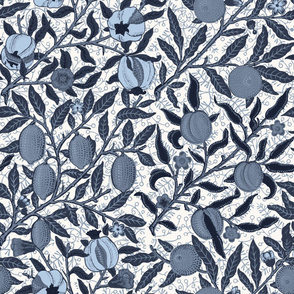 Fruit ~ William Morris ~ Custom Blue and Offwhite