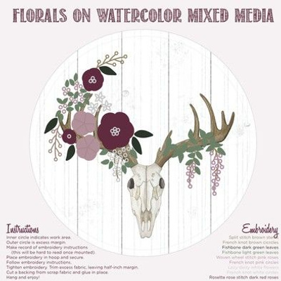 Deer Skull Floral Embroidery Template