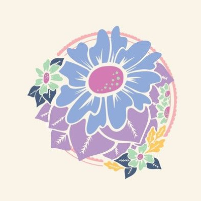 Pastel Blossom Embroidery Template