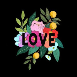 LOVE Floral Embroidery Template