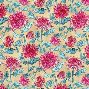 Magenta Chrysanthemum Watercolor & Pen Pattern - Beige  - Large ScaleMagenta Chrysanthemum Watercolor & Pen Pattern - Beige  - Small Scale
