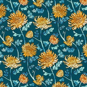Yellow Chrysanthemum Watercolor & Pen Pattern - Navy - Small Scale