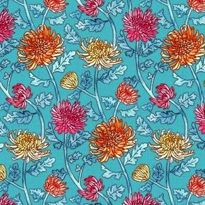 Chrysanthemum Watercolor & Pen Pattern - Blue - Small Scale