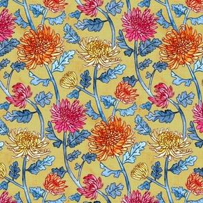 Chrysanthemum Watercolor & Pen Pattern - Mustard - Small Scale