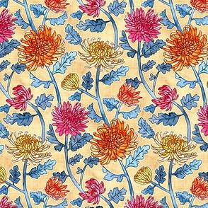 Chrysanthemum Watercolor & Pen Pattern - Cream - Small Scale