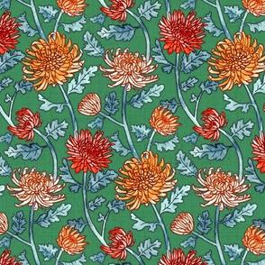 Chrysanthemum Watercolor & Pen Pattern - Kelly Green - Large Scale