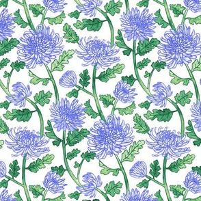Purple Chrysanthemum Watercolor & Pen Pattern  - Small Scale