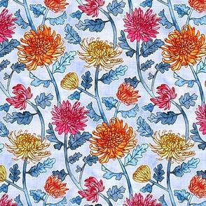 Chrysanthemum Watercolor & Pen Pattern - Periwinkle Purple - Small Scale
