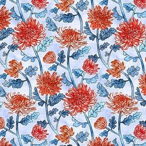 Red Chrysanthemum Watercolor & Pen Pattern - Periwinkle Purple - Small Scale