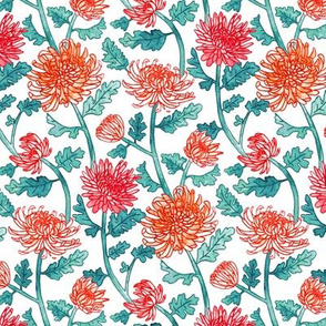 Chrysanthemum Watercolor & Pen Pattern - Pastels - Small Scale