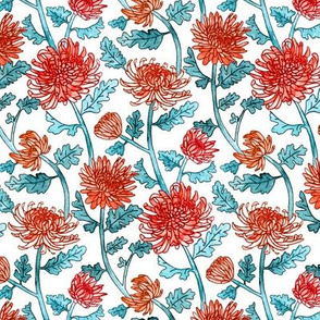 Red Chrysanthemum Watercolor & Pen Pattern - Mint - Small Scale