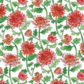 Red Chrysanthemum Watercolor & Pen Pattern - White - Small Scale
