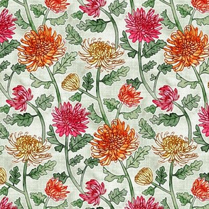 Chrysanthemum Watercolor & Pen Pattern - Sage - Small Scale