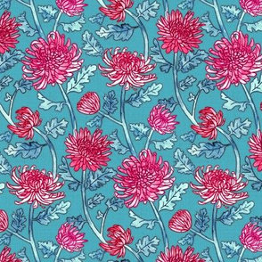 Magenta Chrysanthemum Watercolor & Pen Pattern - Blue - Small Scale
