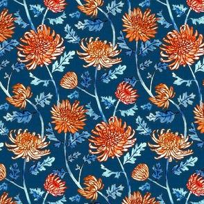 Orange Chrysanthemum Watercolor & Pen Pattern - Navy - Small Scale